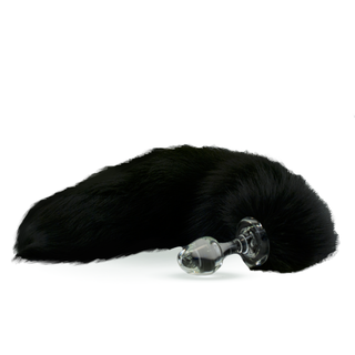 Fur Tail Black with Glass Plug