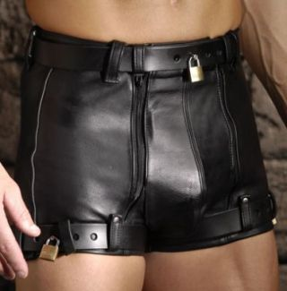 Leather Chastity Shorts
