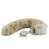 Faux Fur Tail Snow Leopard with Glass Plug